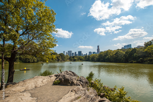 NYC Central Park lake landscape skyline wide