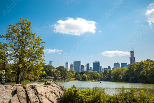 NYC Central Park lake landscape skyline