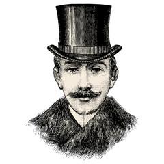Homme avec moustache & chapeau