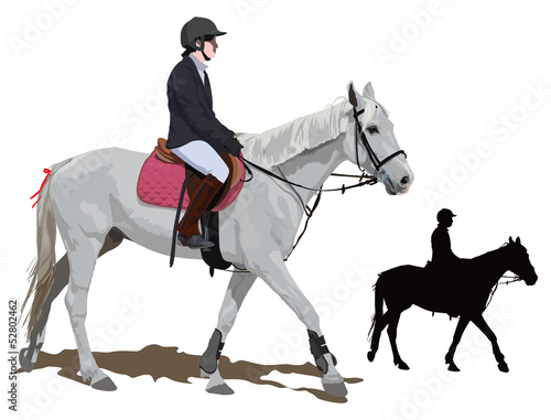 White horse and lady jockey
