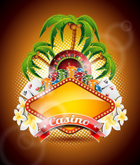 Vector illustration on a casino theme with palm trees.