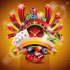Vector illustration on a casino theme with roulette wheel.