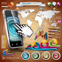 Vector phone design set of infographic elements.
