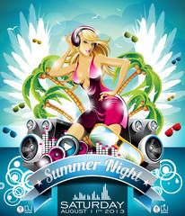 Vector Summer Beach Party Flyer Design with sexy girl.