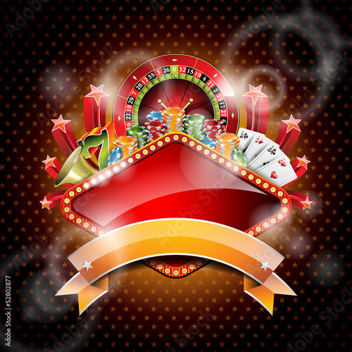 Vector illustration on a casino theme with ribbon.