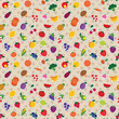 Vector seamless fruit and vegetable pattern with polka dot