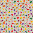 Vector seamless checked fruit and vegetable pattern