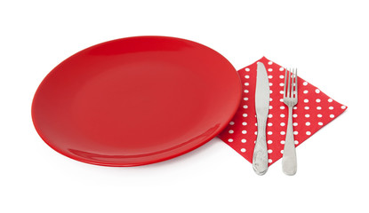 Red plate and cutlery