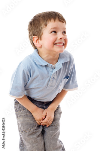Leinwanddruck Bild Little boy need a pee