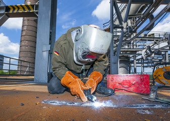 Welder at work at the famous industry site in Neuenkirchen