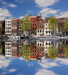 Amsterdam with colorful houses against canal in Holland