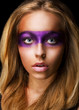 Portrait of Style woman with Vivid Violet Make-up. Rainbow