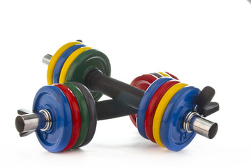 Set of dumbbells on white background