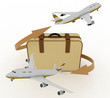 airliners and suitcase on white background