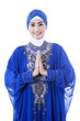 Close-up female muslim in blue dress on white