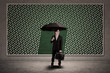 Agent insurance hold umbrella in front rain drawing