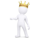 3d white man with a crown raised his hand