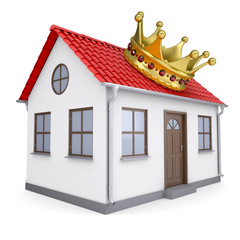 A small house with a crown