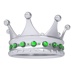 Silver crown decorated with green sapphires