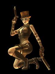 Steampunk female gunslinger