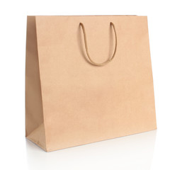 Paper shopping bag with  handles.