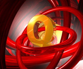 letter q in abstract space