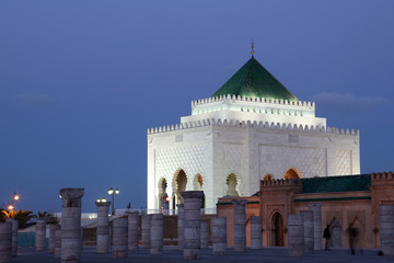 Mausoleum of Mohammed V at dusk, Rabat Morocco