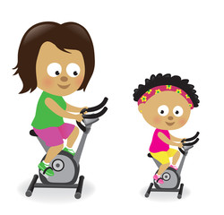 Mother and daughter riding exercise bikes 2