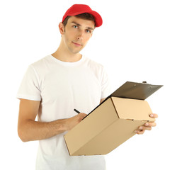 Young delivery man holding parcel and clipboard, isolated