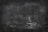 Chalk on black board: cup of tea of coffee