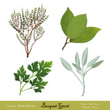 Bouquet Garni, Bay Leaves, English Thyme, Garden Sage, Parsley