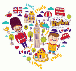 Vector card with London symbols