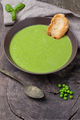 Soup made of green vegetables..