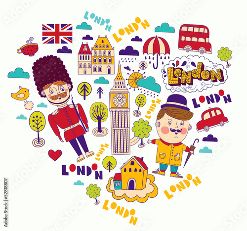 Sticker Vector card with London symbols