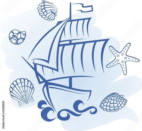 Absntact vector ship and seashell