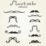 Hand drawn mustaches set