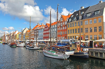 Beautiful colorful buildings in Copenhagen, Denmark