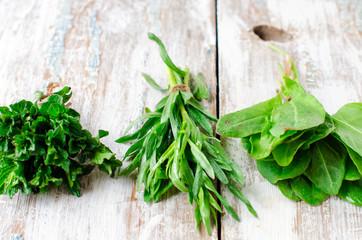Fresh mint , tarragon and spinach