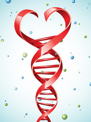 Vector illustration of a DNA strand in a shape of a heart