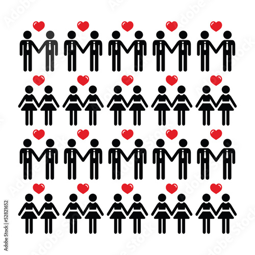 Gay lesbian couple icons vector card