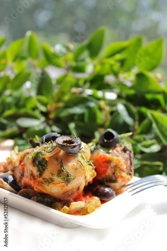 Roasted chicken with black olives