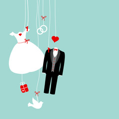 Hanging Wedding Symbols Retro Background