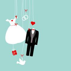 Hanging Wedding Symbols Retro Background