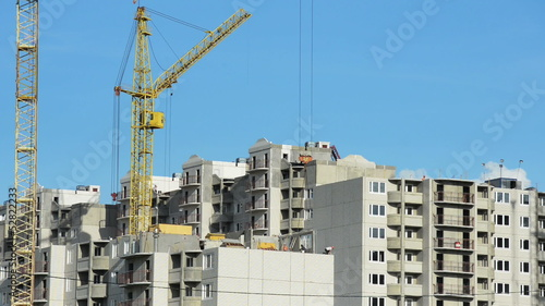 Building a house with the application of cranes..Time lapse