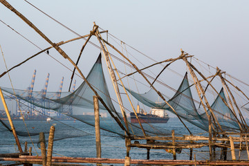 Kochi, India. Chinese fishing nets