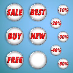 Set of white shiny buttons on sale