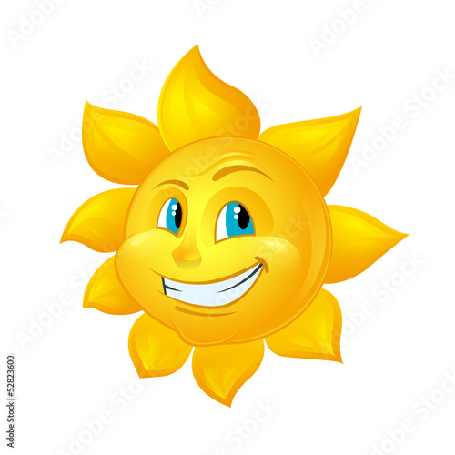 Smiling Sun Cartoon Character