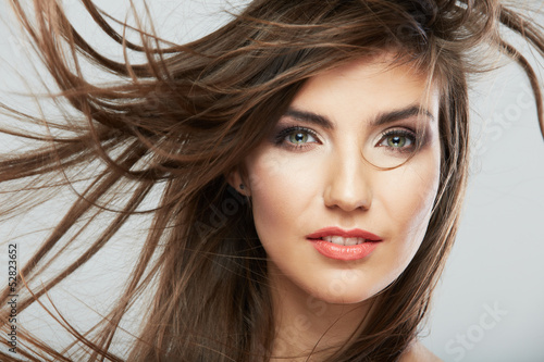 Hair style smiling woman portrait.