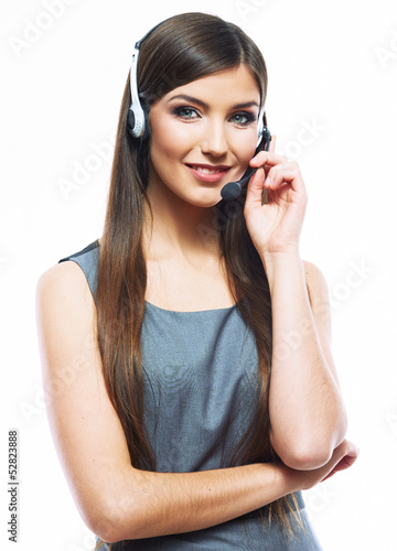 Smiling woman operator isolated on white backgroun