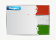 Stitched Hungary flag with grunge paper frame for your text.